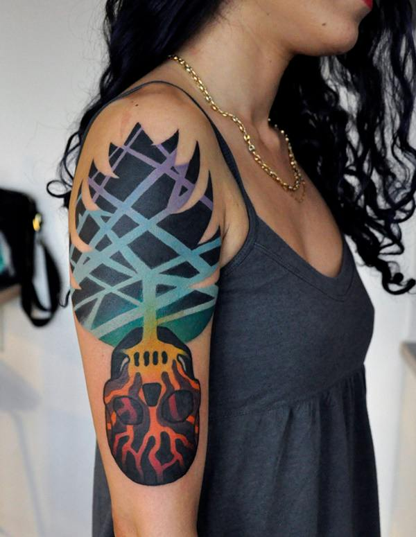 arm watercolor tree of life tattoo