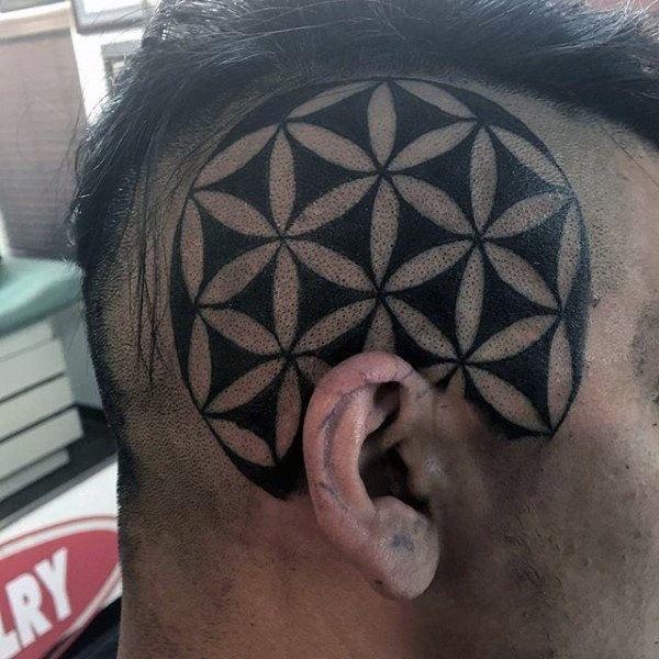 trendy side head tribal tattoos