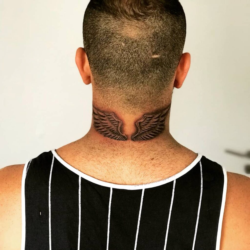 guys guardian angel neck tattoo