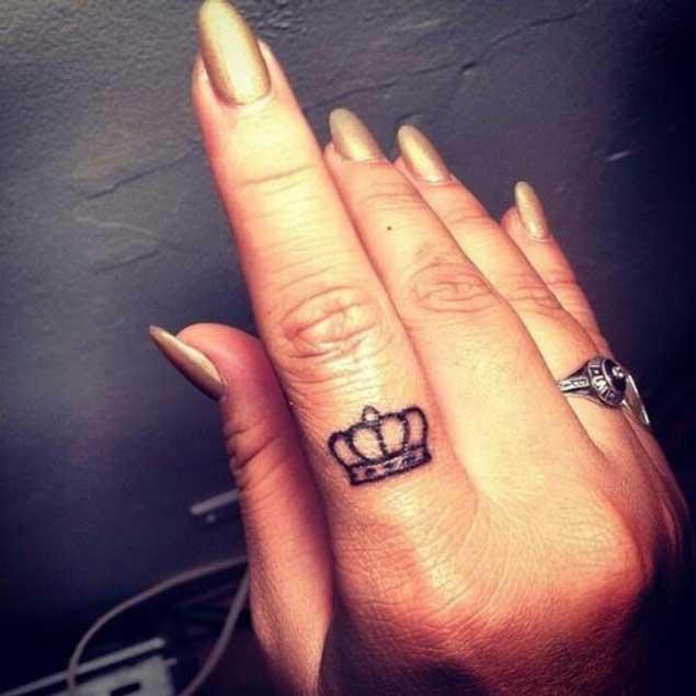 Crown womens finger tattoos designs