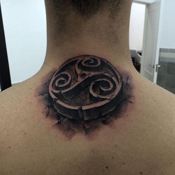 men back neck stone tattoo design for guys
