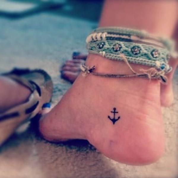 foot female anchor tattoos design ideas