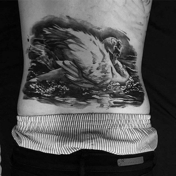 men black ink full back swan tattoo images