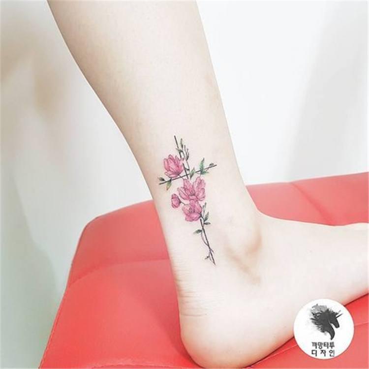 best flower tattoos for women on ankle design