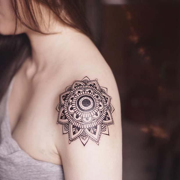 mandala over the shoulder tattoos for females