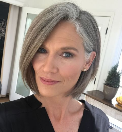 grey hair ombre short hair