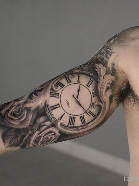 clock arm tattoo designs for guys