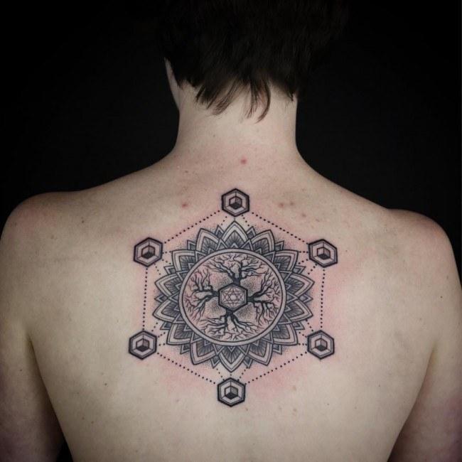 mandala tree tattoo on girls back images