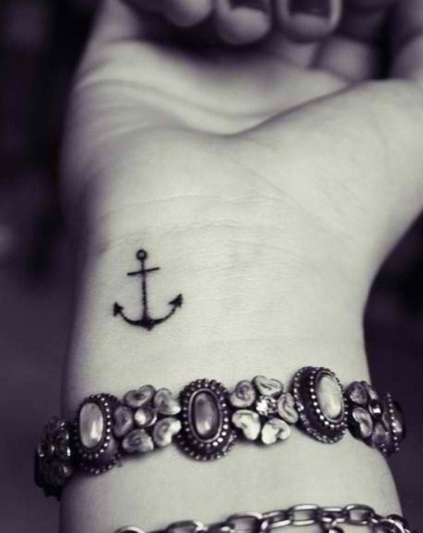 cute anchor tattoo on wrist ideas