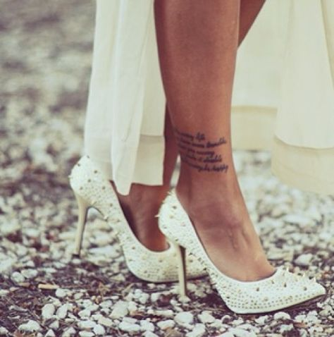 front side ladies leg tattoos quotes