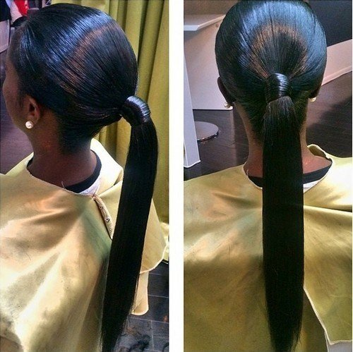types of ponytails for long hair images