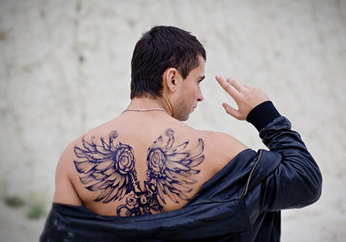 guardian angel tattoo images on back for men