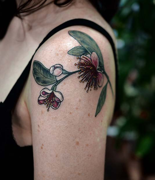 colour flower women's shoulder tattoo designs