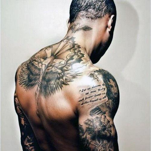 shoulder motivational quote tattoos for guys design