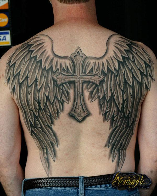 back cross with angel wings tattoo designs