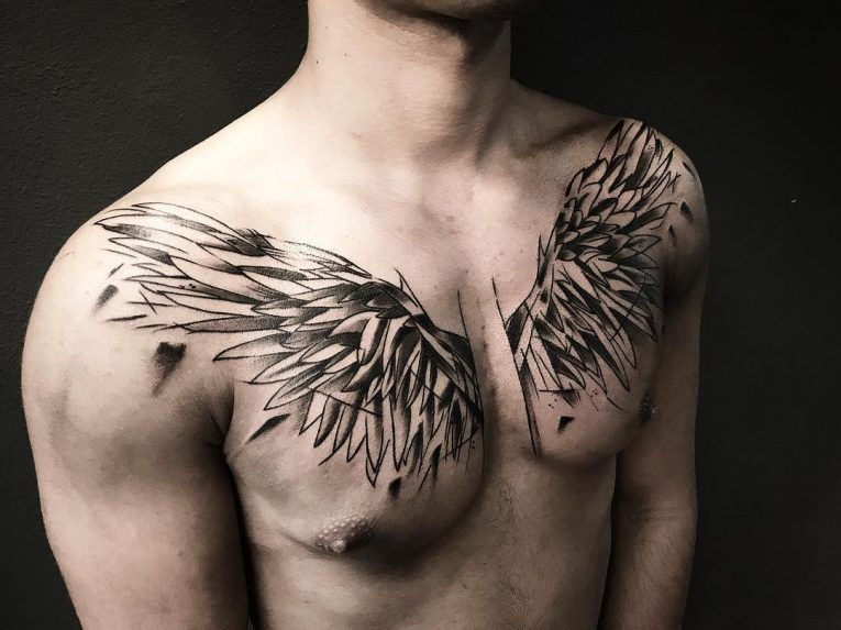 chest angel wing tattoos for guys