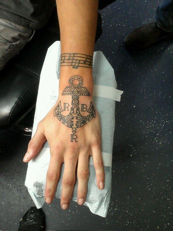 henna hand pretty anchor tattoos ideas