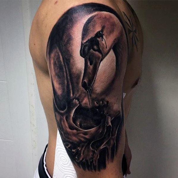 shoulder  swan ink art design