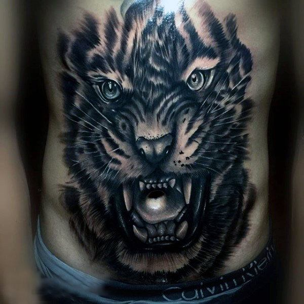 full tiger chest and stomach tattoos images