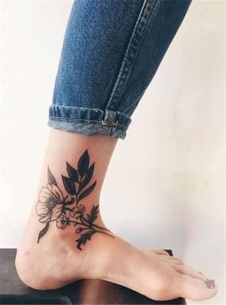 unique flower tattoos ankle women idea