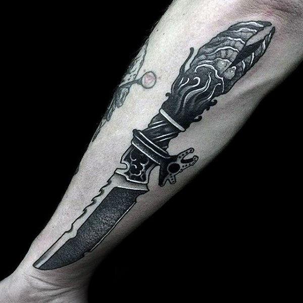 traditional dagger  knife tattoo