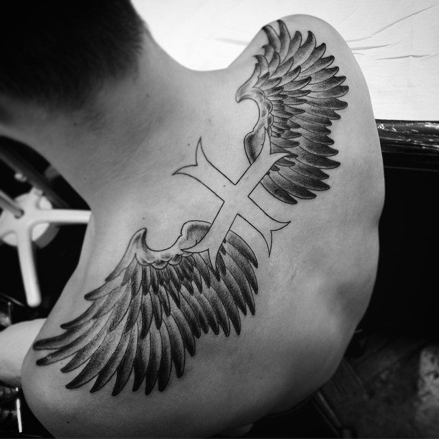 cross wings tattoo designs for male