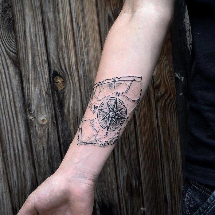 arm travel compass inspirational tattoo ideas for girls