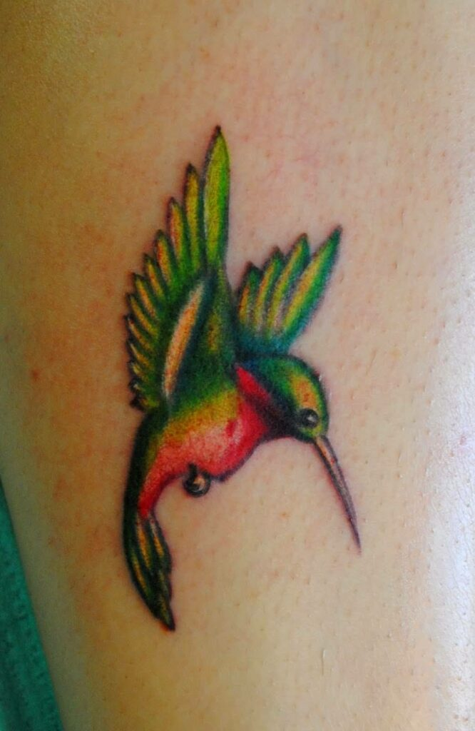 tattoo is colorful and each bird has a different color.