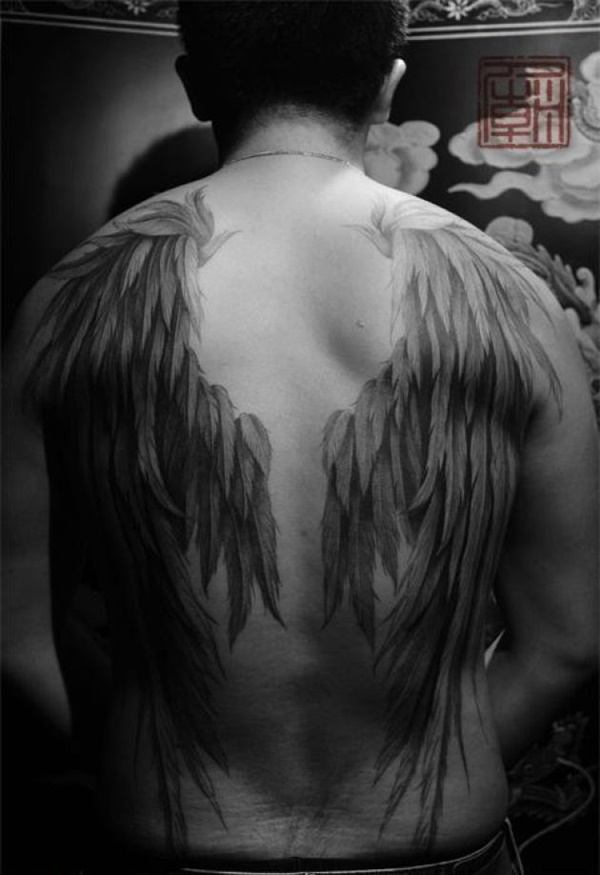 angel wing tattoos on back for guys