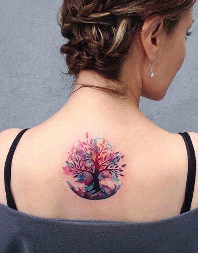 back women tree of life tattoo watercolor