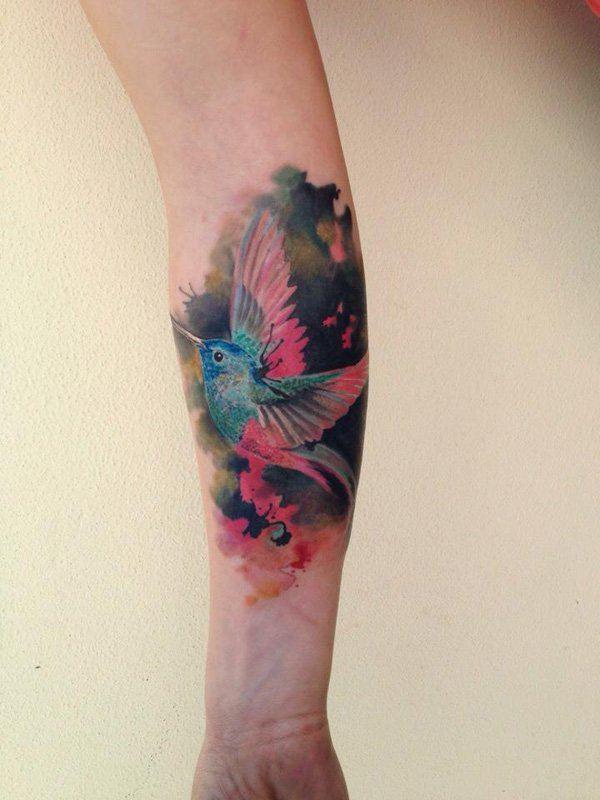 colour bird tattoos on arm