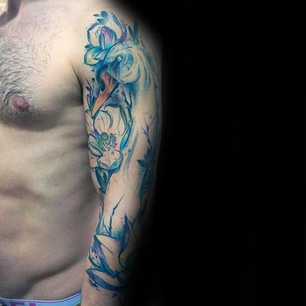 blue arm  swan  tattoo design ideas