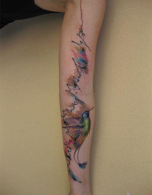 arm colour bird tattoos