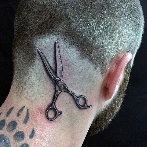 scissors head tattoo for men
