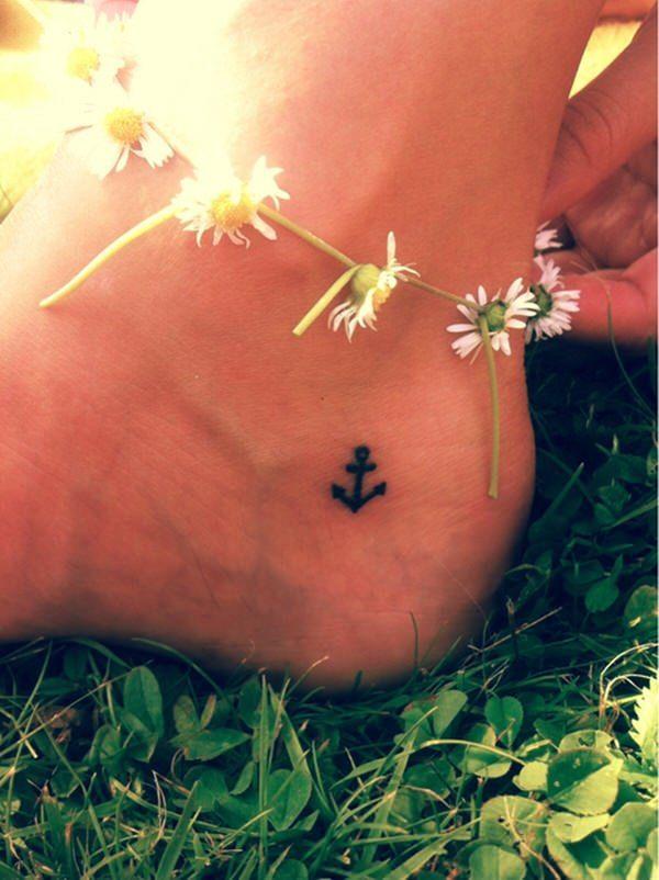 girls fake anchor tattoo on foot  design