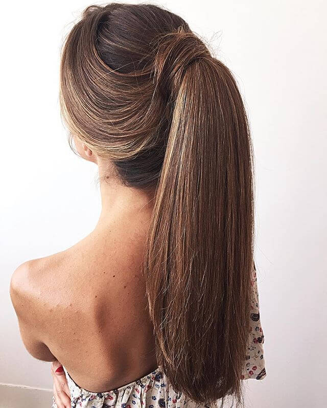 different types of ponytails for medium length hair