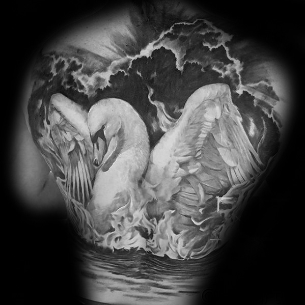 back swan tattoo design images