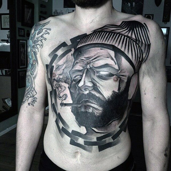 portrait tattoo on stomach