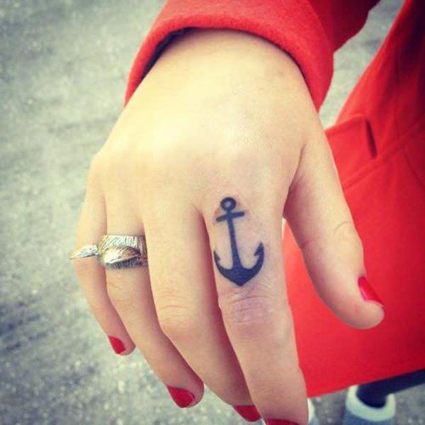 finger small tattoo anchor ideas