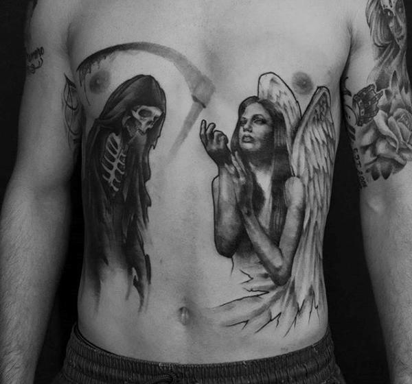 angel  Stomach Tattoos design For Men images