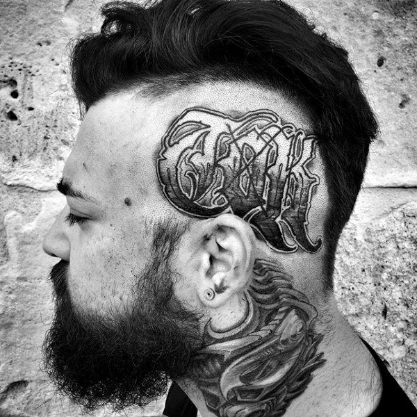letters side head tattoos for guys