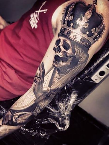 skull  best arm tattoo ideas for guys