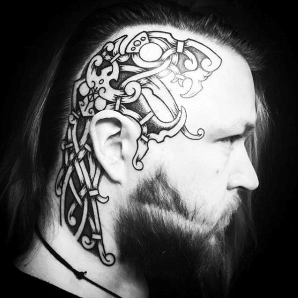 man with face tattoo on back of head images