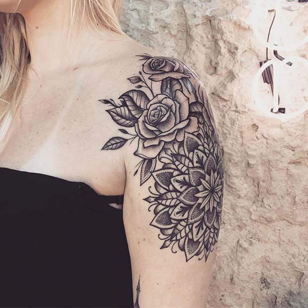 roses shoulder and arm tattoos for ladies design