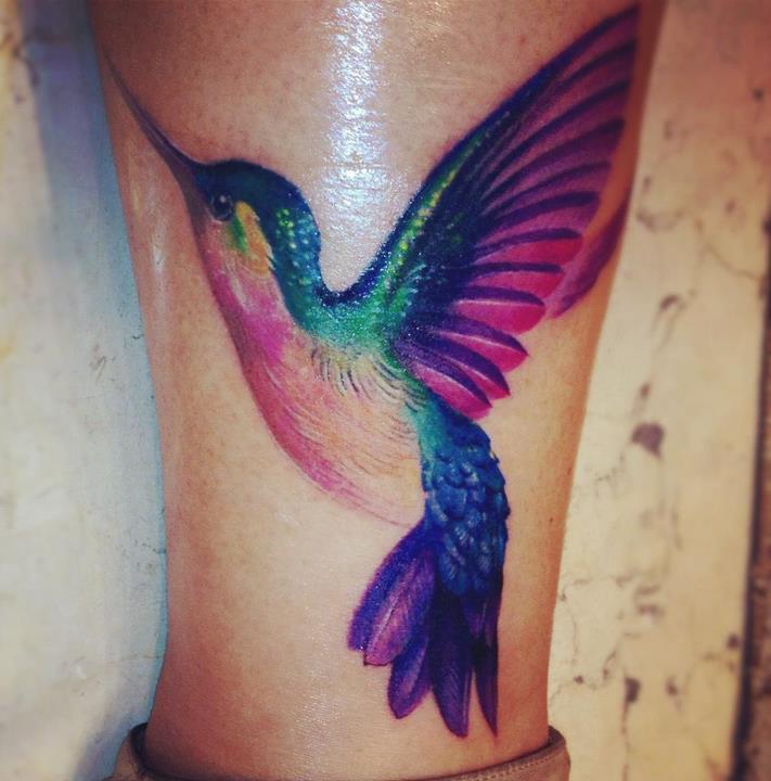 foot colibri watercolor tattoo design images