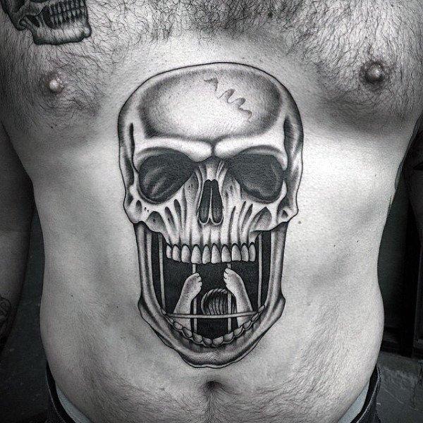 Skull stomach tattoos design