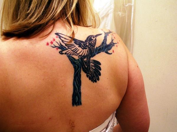 black bird tattoo design on body