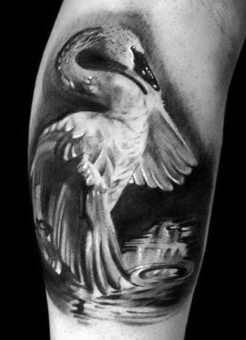 top arm white swan tattoo images