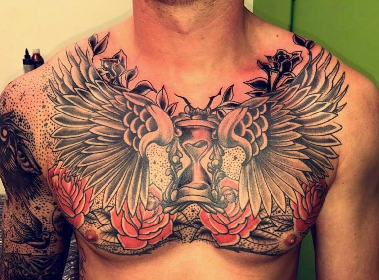 chest angel tattoo simple design for guys