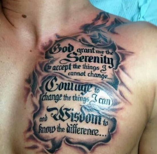 chest cool tattoo sayings for guys
